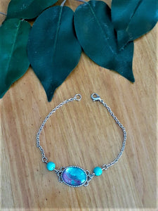 Pastel Pour Bracelet with Turquoise Beads