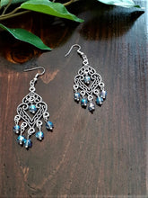 Load image into Gallery viewer, Antique Silver Chandelier Earrings with Iridescent Beads