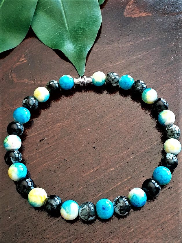 Blue, White, Yellow, Black Bracelet