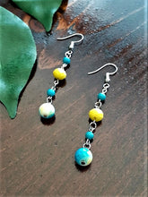 Load image into Gallery viewer, Yellow, Blue White Earrings