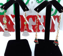 Load image into Gallery viewer, Christmas Tree Dangle Earrings