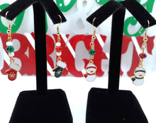 Load image into Gallery viewer, Snowman and Glove Dangle Earrings
