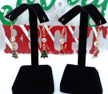 Load image into Gallery viewer, Tree and Bell Dangle Earrings