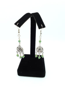 Antique Silver Chandelier Earrings with Green Beads