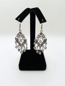 Antique Silver Chandelier Earrings with Iridescent Beads
