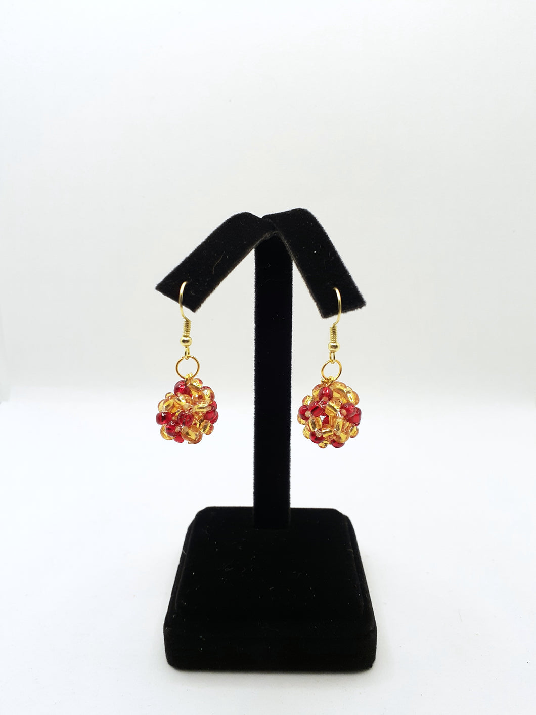 Gold & Red Circle Earrings