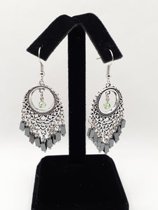 Antique Silver Chandelier Earrings with Black & Green Beads
