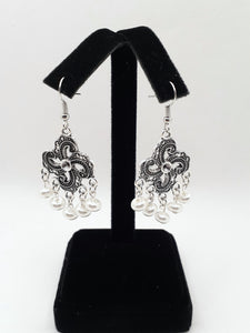 Antique Silver Chandelier Earrings with White Beads