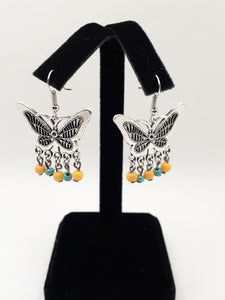 Antique Silver Butterfly Earrings with Yellow and Turquoise Beads