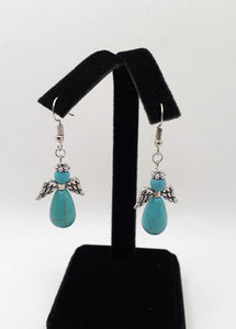 Semi Precious Stone Angel Earrings