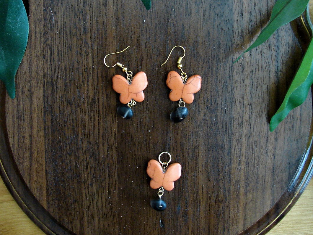 Orange Butterfly Earring and Necklace Set with Black Rock