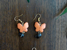 Load image into Gallery viewer, Orange Butterfly Earring and Necklace Set with Black Rock