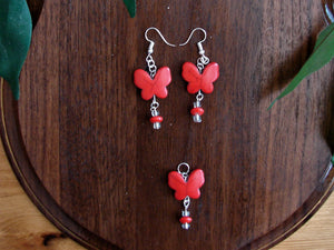 Red Butterfly Earring and Necklace Set with Red Beads