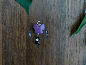 Purple Butterfly Earring and Necklace Set with Black Rock
