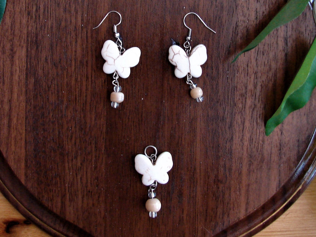 White Butterfly Earring and Necklace Set