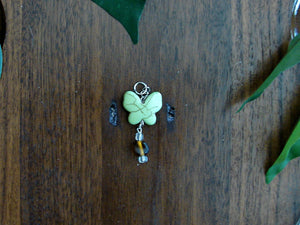 Green Butterfly Earrings and Necklace Set with Brown Clear Beads