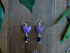 Purple Butterfly Earring and Necklace Set with Purple Beads