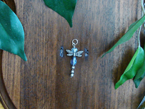 Iridescent Purple Dragonfly Earring and Pendant Set