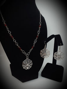 Spider Web Earring and Necklace Set