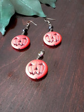 Load image into Gallery viewer, Semi-Precious Stone Jack-O-Lantern Earrings and Pendant