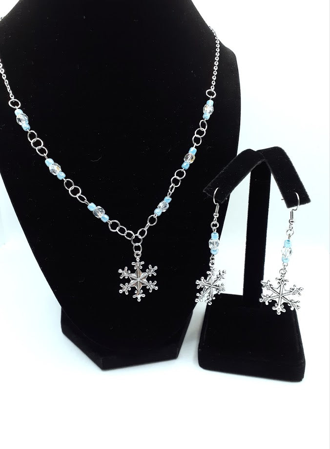 Snowflake Earring and Necklace Set - A