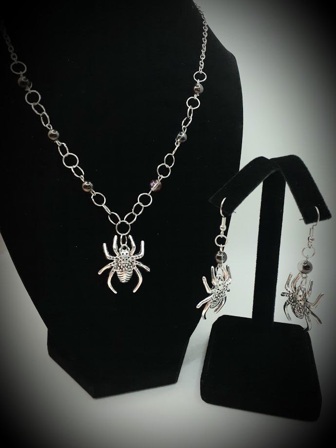 Spider Earring and Necklace Set