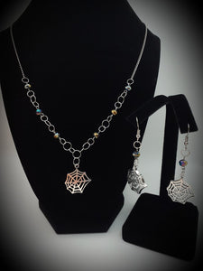 Spider Web Earrings and Necklace Set