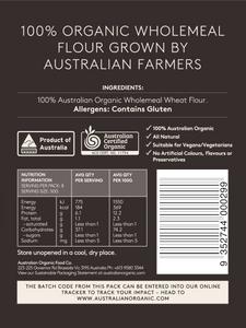 Australian Organic Food Co Organic Wholemeal Flour