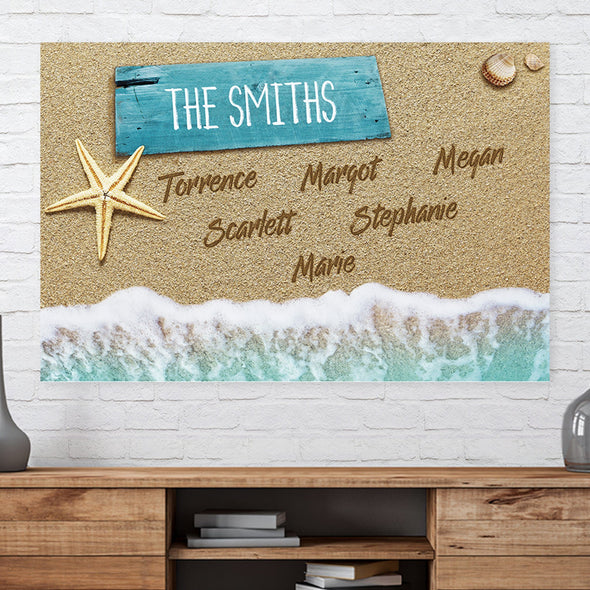 Written in the sand | Multi-Name Canvas Great American Gift