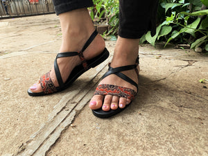 Criss cross sandals in Ajrakh