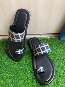 Mens chappals blue checkered fabric