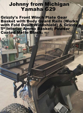 yamaha g29 front clays basket with winch mount and body guard rails grizzly metalworks