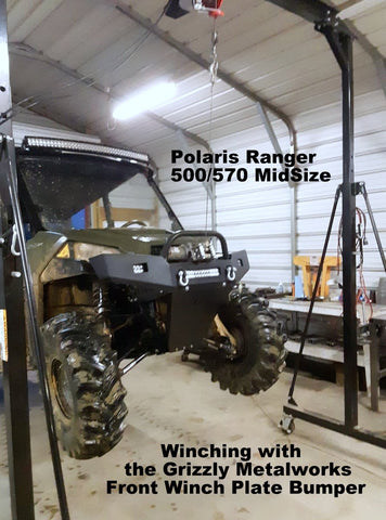 Polaris Ranger 500 570 Mid Size Front Winch Plate Bumper and Skid Plate