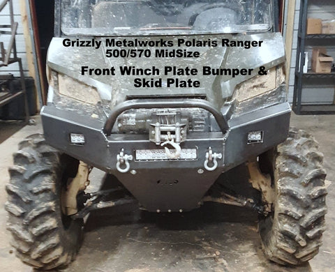 Polaris Ranger 500 570 Front winch plate bumper and skid plate