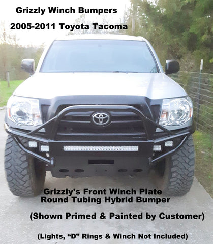 2005-2011 Toyota Tacoma Front Winch Plate Round Tubing Hybrid Model