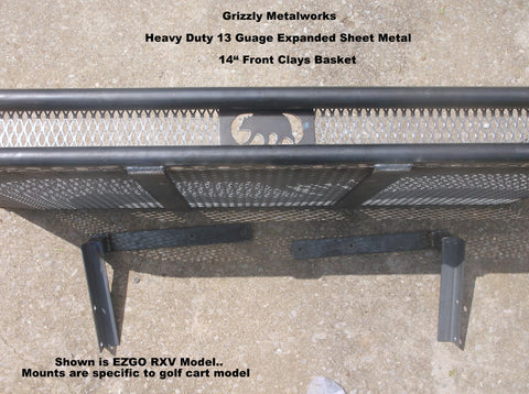 front clays basket golf cart 13 gauge expanded sheet metal grizzly metalworks