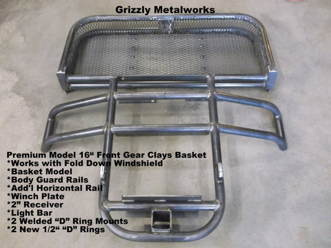 "GRIZZLY METALWORKS FRONT 16"" CLAYS BASKET WITH WINCH PLATE AND WRAP AROUND BODY GUARD RAILS"