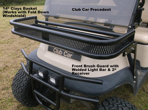 CLUB CAR PRECEDENT FRONT CLAYS BASKET AND FRONT BRUSH GUARD GRIZZLY METALWORKS