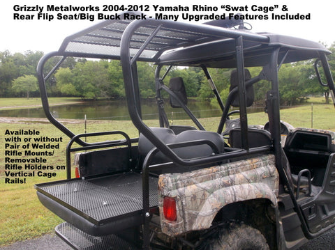 Yamaha Rhino side x side Swat Cage and Rear flip seat assembly Grizzly Metalworks