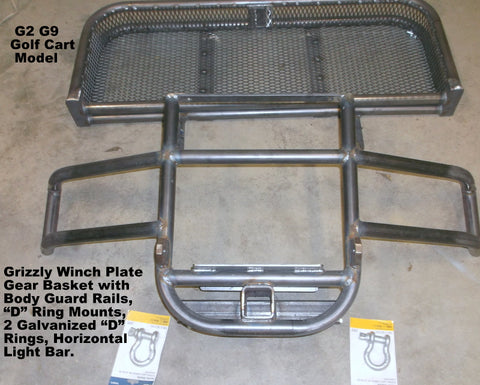 "Grizzly Metalworks golf cart 16"" basket with winch plate and wrap around body guard rails"