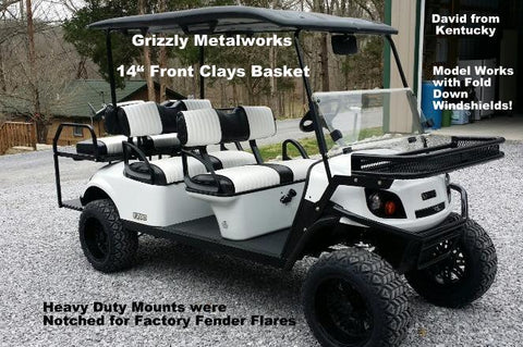 "Grizzly Metalworks Front 14"" Clays Basket for 2016 EZGO Express L6"