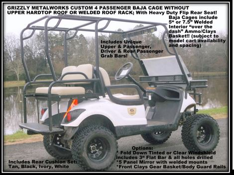 Grizzly Metalworks Baja 4 Penger Golf Cart Cage with Extended ... on black trailer, black tv, black toy hauler, black bus,