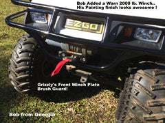 FRONT WELDED WINCH PLATE WRAP AROUND BRUSH GUARDS -Welded Heavy Duty Winch Plate (Available for: EZGO TXT, EZGO ST with Standard ST Front Cowl & EZGO Workhorse with Standard TXT Cowl & EZGO Workhorse with ST Cowl!)