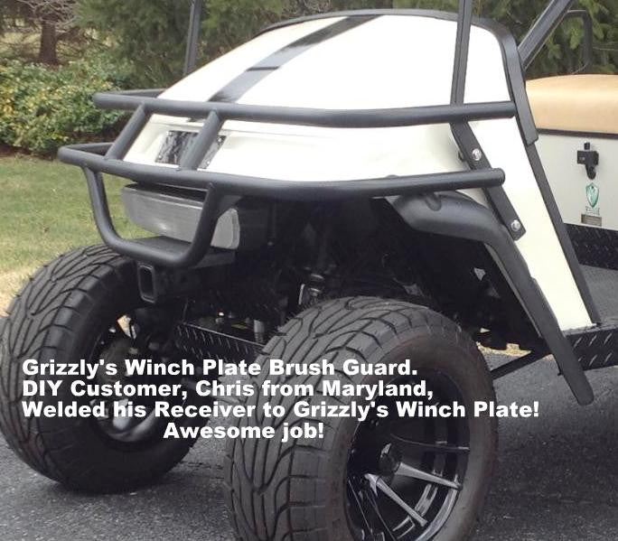 ezgo front brush guard hunting golf carts grizzly metalworks