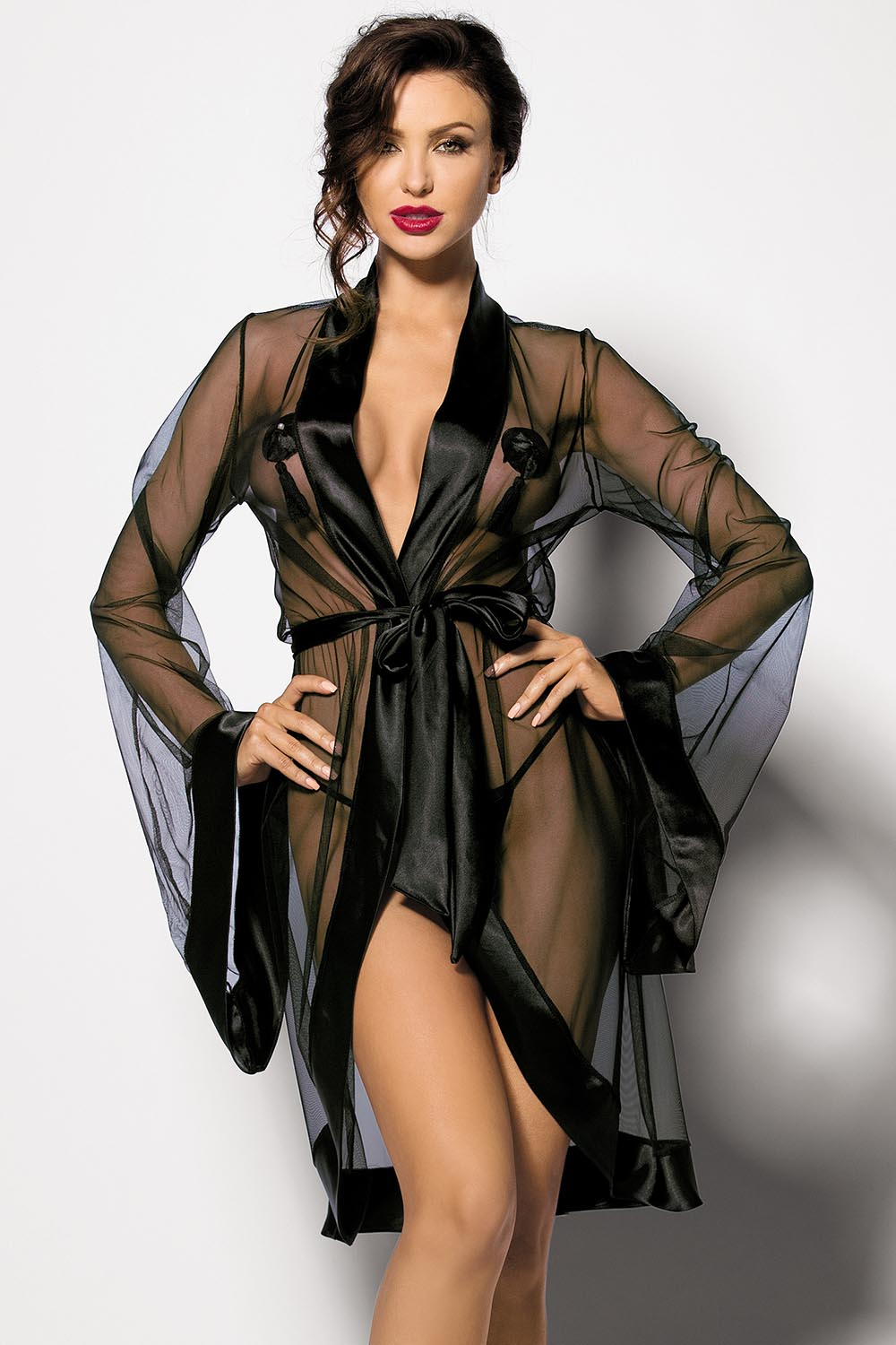 Anthis Seductive Black Dressing Gown - EVOLESCENT