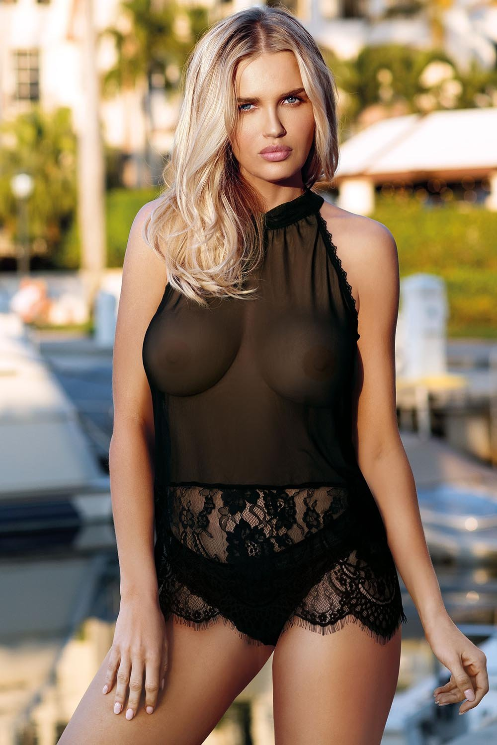 Gilian Black Transparent T- Shirt And Panty Set - EVOLESCENT
