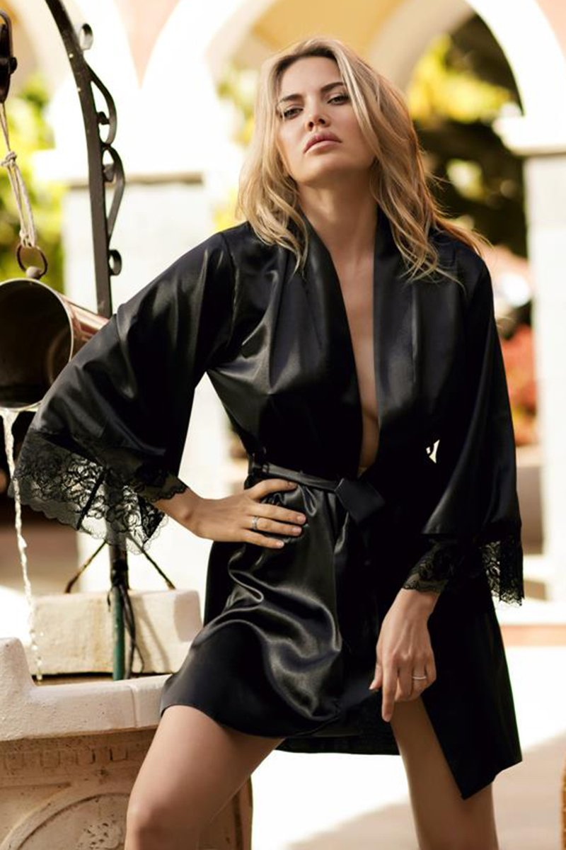 Adelaide Black Seductive Sating Dressing Gown - EVOLESCENT