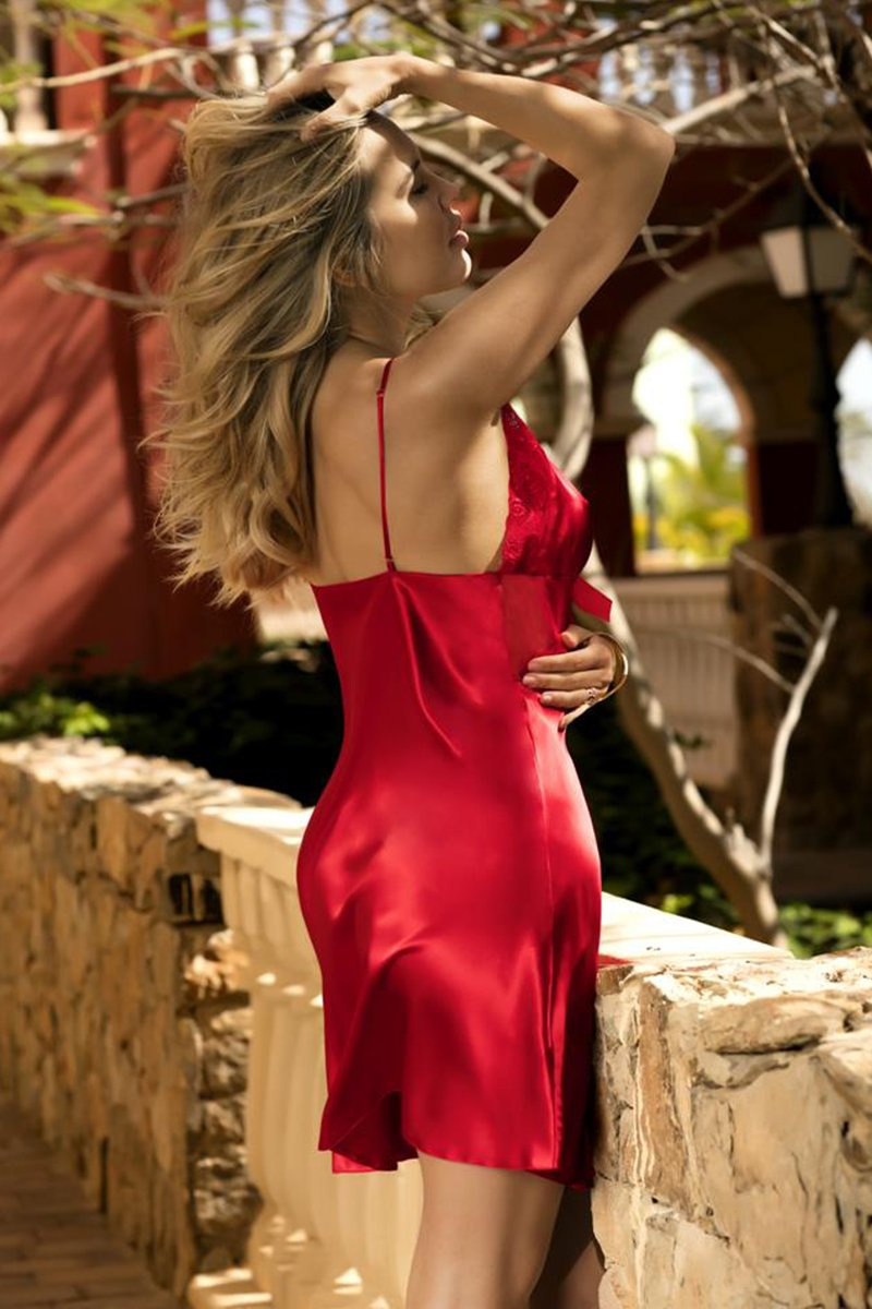 Justine Satin Red Chemise - EVOLESCENT