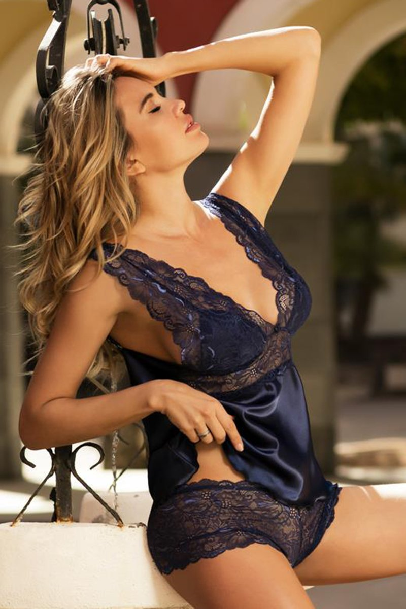 Belinda Sexy Navy Blue Shirt And Shorts Set - EVOLESCENT