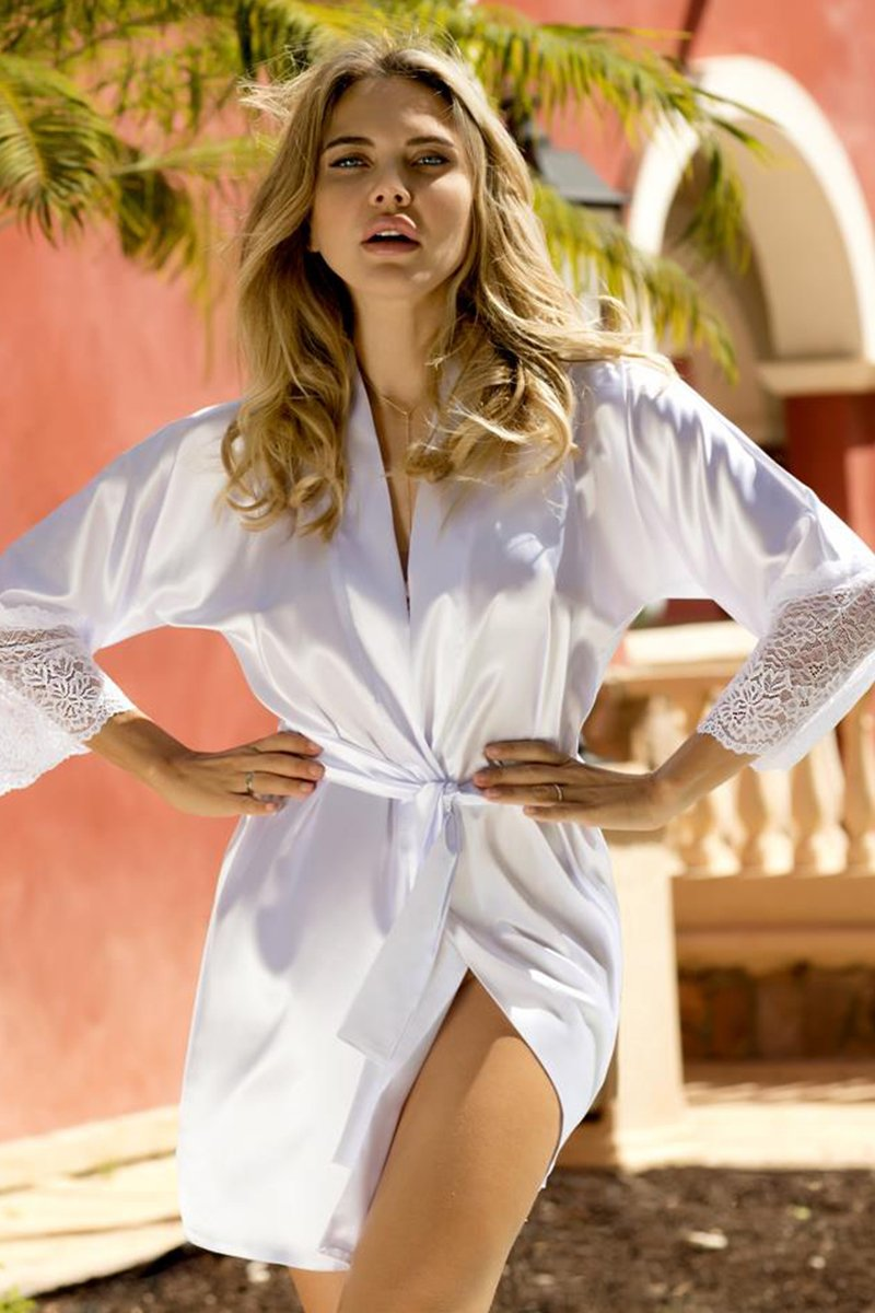 Clarisse Beautiful White Satin Dressing Gown - EVOLESCENT